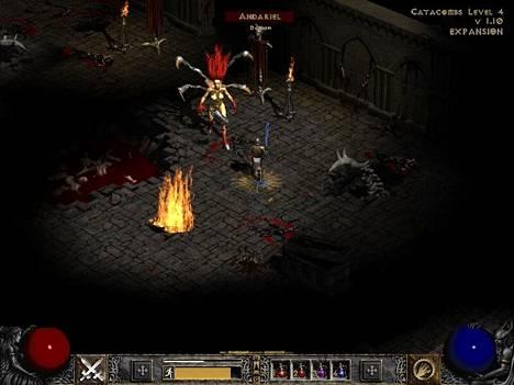 """Diablo II on jaettu neljään """"näytökseen"""", joiden lopussa odottaa pomotaistelu. Kuvassa paladin kohtaa ensimmäisen näytöksen loppuvastus Andarielin."""