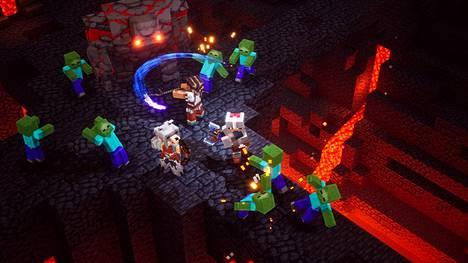 Minecraft Dungeons on Minecraftin maailmaan sijoittuva luolastoseikkailu, joka sopii melkein kaikenikäisille.