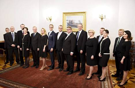 Keskustan pääministeri Juha Sipilän johtama uusi hallitus piti tiedotustilaisuuden valtioneuvoston juhlahuoneistossa Smolnassa 29. toukokuuta 2015 Helsingissä.
