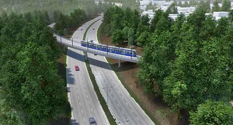 Kehä I:n ylittävä silta Espoon Laajalahdessa on yksi Raide-Jokerin kahdestatoista täysin uudesta sillasta. Havainnekuva.