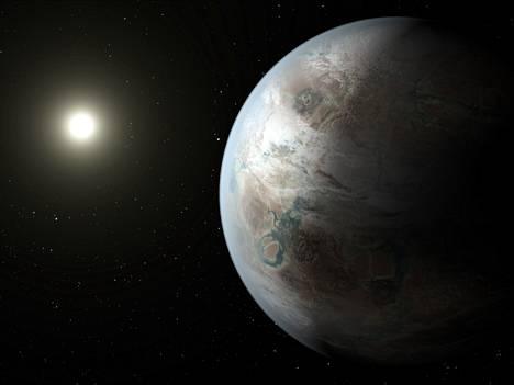 Taiteilijan näkemys Kepler-452b:stä, joka on Keplerin uusimpia lupaavia löytöjä.
