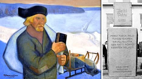 Tapani Lemminkäinen ikuisti Matti Pohdon tauluun vuonna 1955. Kirja-Matin patsas sijaitsee Pohdon kotiseudulla Ylistarossa.
