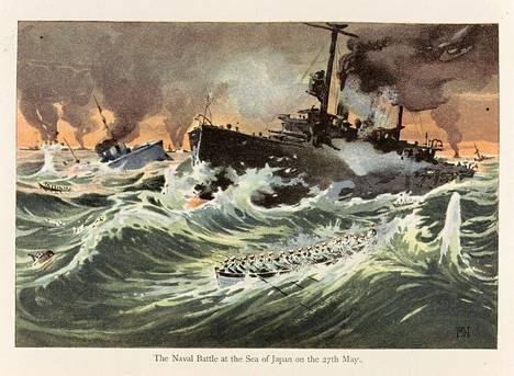 Tsushiman taistelua kuvaava postikortti.