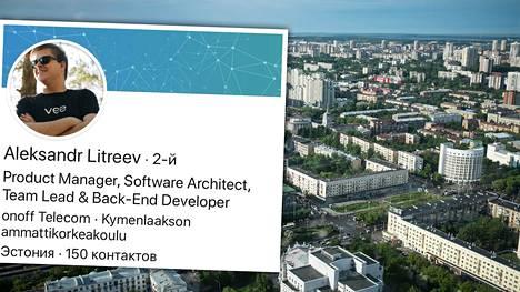 Aleksandr Litrejev on Venäjällä tunnettu it-alan ja kybertuvallisuuden asiantuntija. Hän on opiskellut Suomessa Kymenlakson ammattikorkeakoulussa. Taustalla Jekaterinbrugin kaupunkinäkymää kuvattuna vuonna 2015.