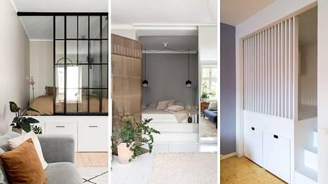 Makuutilan erottaminen muusta huoneesta tuo pieneen kotiin kaivattua yksityisyyttä.