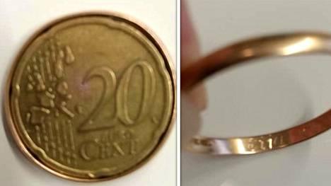Heli Räikkösestä yllättyi löytäessään 20 sentin kolikon, jonka ympärillä oli kultasormus.