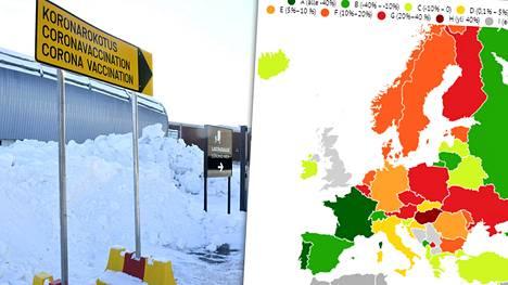 Suomi hohtaa punaisena alueena Euroopan kartalla tarkasteltaessa koronataudin leviämisvauhtia.