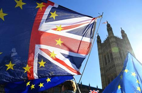Lontoossa parlamenttitalon luona osoitettiin maanantaina mieltä brexitiä vastaan.