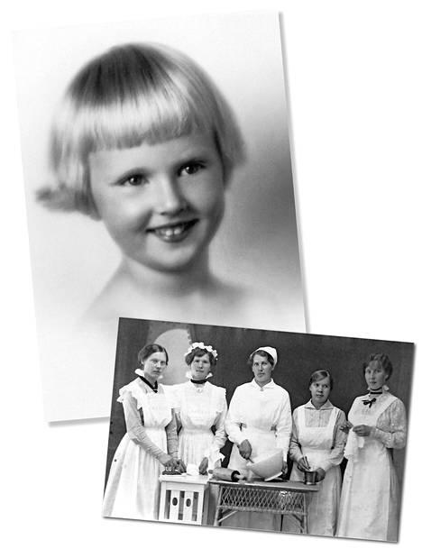 Anna Liisa Standertskjöld lapsena. Alempana Wiurilan kartanon palvelusväkeä 1900-luvun alussa.