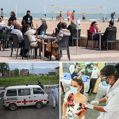 Espanjassa alueiden välillä matkailu on nyt sallittua. Itsehallintoalueet voivat edelleen rajoittaa baarien aukioloaikoja ja asiakasmääriä. Intiassa koronatilanne on vaikea.