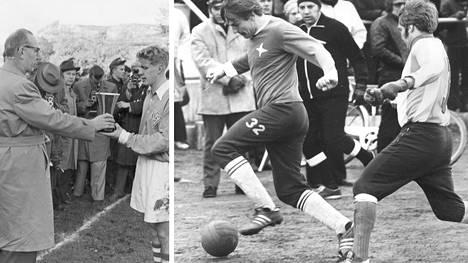 Vasemmalla Kai Pahlman, joka voitti HPS:n riveissä mestaruuden vuonna 1957. Oikealla HIFK:n Matti Paatelainen ja HJK:n Kari Korpelainen taistelevat pallosta vuonna 1972.