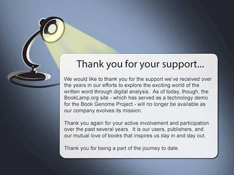 BookLamp sulki palvelunsa huhtikuussa, mutta ei ilmoittanut syytä siihen.