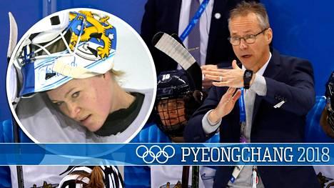 Pasi Mustonen otti aikalisän ottelussa Suomi-Kanada.