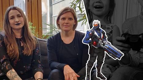 Jenni Ahlapuro (vas.) ja Taina Myöhänen olivat perustamassa pelialan monimuotoistumista edistävää yhdistystä. Kuvassa oikealla Overwatch-pelin Soldier: 76, joka ei enää vastaa pelien stereotyyppistä miessankaria.