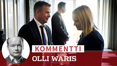 Kokoomuksen puheenjohtaja Petteri Orpo ja perussuomalaisten puheenjohtaja Riikka Purra ottivat ensimmäistä kertaa julkisesti yhteen politiikan toimittajien tilaisuudessa.