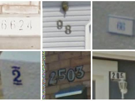 Googlen esimerkkejä Street View'n tunnistamista talojen numeroista.