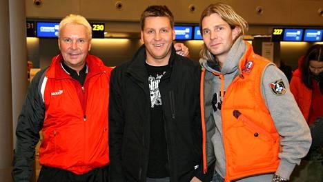 Pelkokerroin-ohjelman kuvauksiin Argentiinaan lähti 2009 yhteensä 69 arvokisamitalin kolmikko Matti Nykänen (vas.), Jani Sievinen ja Janne Ahonen.
