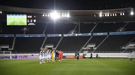 Huuhkajat pelasi Kansojen liigaa syyskuussa Walesia vastaan uusitulla mutta tyhjällä Olympiastadionilla.