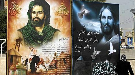 Shiiaimaami Hussein ja Jeesus ovat päässeet vieräkkeisiin julisteisiin Irakissa, jossa vedotaan, etteivät kristityt pakenisi maasta.