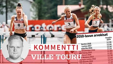 Reetta Hurske (vas.) ja Annimari Korte (kesk.) aitoivat hurjat uudet ennätyksensä keskiviikkona Joensuussa.
