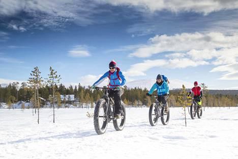 Fatbike-pyöräilijöitä Ylläksellä vuonna 2020.