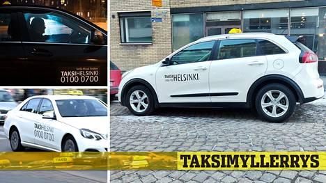 Taksi Helsinki (heidän autojaan kuvassa vasemmalla) väittää esimerkiksi Taksilinja Oy Helsingin auton logotarroja (kuvassa oikealla) kopioksi. Taksiyrittäjä kiistää kopioväitteet.