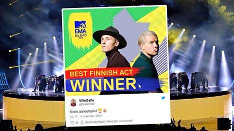 JVG palkittiin MTV Europe Music Awards -gaalassa – kiittää äänestäjiä Twitterissä