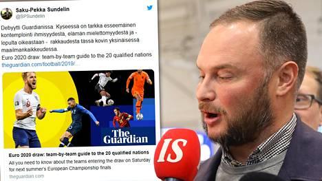 IS:n Saku-Pekka Sundelin kirjoitti Huuhkajista The Guardianiin.