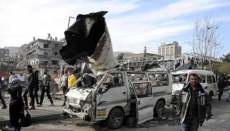 Autopommi teki rajua jälkeä Damaskoksessa.