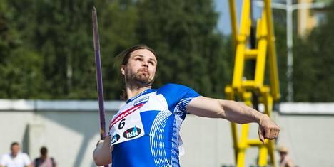 Harri Haatainen heitti vaikeuksista huolimatta neljänneksi Kalevan kisojen loppukilpailussa 24. heinäkuuta.