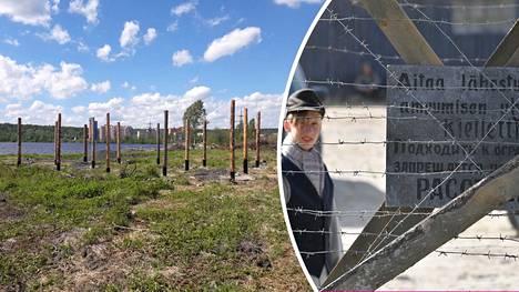 """Kontupohjanlahden rannalle oli ehditty jo pystyttää tolpat """"suomalaisten keskitysleirien muistomuseon"""" rakentamista varten."""