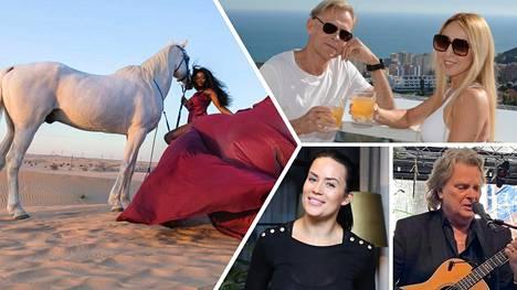 Miss Helsinki Kelly Kalonji (vas.) on viettänyt Dubaissa jo kolme kuukautta. Ulkomailla ovat viihtyneet myös Toivo ja Nadja Sukari, Martina Aitoloehti sekä Pepe Willberg.
