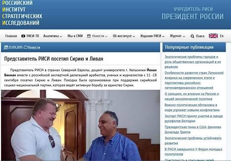 Syyskuulta 2015 Risin omilta sivuilta löytyy uutinen, jonka mukaan Bäckman on käynyt Risin edustajan ominaisuudessa Syyriassa ja Libanonissa.