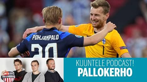 Joel Pohjanpalo ja Lukas Hradecky Suomen voiton jälkeen.