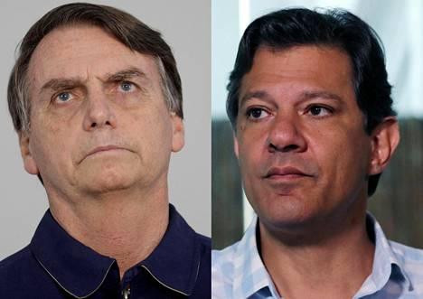 Brasilian presidentinvaalien toisella kierroksella sunnuntaina toisistaan ottavat mittaa sosiaaliliberaalin PSL-puolueen Jair Bolsonaro (vas.) sekä työväenpuolue PT:n ehdokas Fernando Haddad.