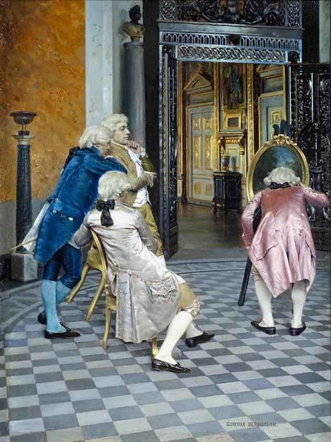 """""""Taiteentuntijoita Louvressa"""" (1879) on suomalaisen Gunnar Berndtsonin (1854–1895) huipputeos. Berndtson teki huomattavan kansainvälisen uran ns. salonkimaalarina."""