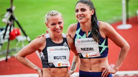 Annimari Korte (vas.) ja Nooralotta Neziri juoksevat vastakkain jälleen keskiviikkoiltana, kun Lahdessa kisataan kotimaisen GP-sarjan toinen osakilpailu.
