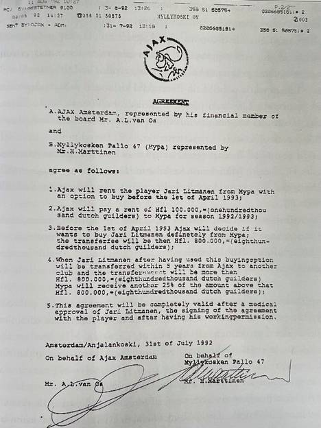 Kirjassa julkaissun sopimuspaperin ovat allekirjoittaneen Ajaxin edustaja Arie L. van Os ja MyPan edustaja Heikki Marttinen.
