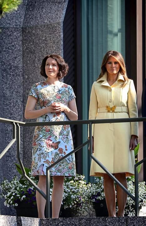 Rouva Jenni Haukio pukeutui Andiatan perhosmekkoon presidentti Trumpin ja rouva Melania Trumpin Suomen-vierailulla.