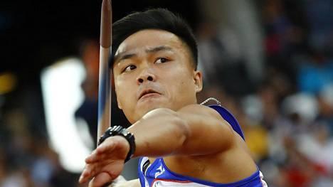 Chao-Tsun Cheng ylitti universiadeissa ensimmäistä kertaa urallaan 90 metrin rajan. Kuva Lontoon MM-kisoista.