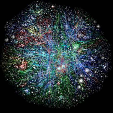Tältä näyttää maailman nettikartta. Barret Lyonin käynnisti vuonna 2003 Opte- hankkeen, jossa visualisoidaan julkisesti netin rakennetta. Punaiset viivat edustavat aasialaisten nettisivujen välisiä linkkejä.