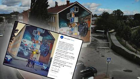 Salon poliisilaitoksen seinään syntyi optista illuusiota hyödyntävä taideteos. Työn tehnyt hollantilaistaiteilija Leon Keer pääsi myös poliisin humoristiseen Instagram-kuvaan.