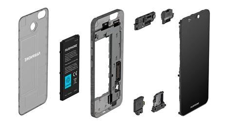 Fairphone 3 -puhelin rakentuu 6 sisäisestä moduulista.
