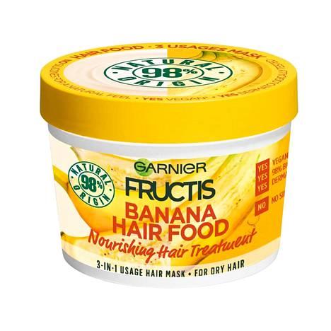 Garnier Fructis Banana Hair Food -hiusnaamio, 6,90 € / 390 ml, hypermarketeista ja tavarataloista.