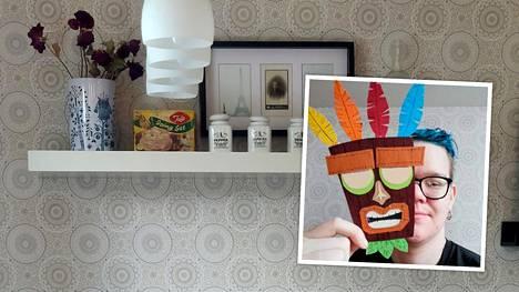 Kierrätyshenkisyys heijastuu myös muihin Pietun vapaa-ajan harrastuksiin. Pikkukuvassa Pietu askartelemansa naamion kanssa.