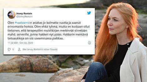 Jenny Rostain kertoi perjantaina Twitterissä olleensa psykoterapiakeskus Vastaamon asiakas.