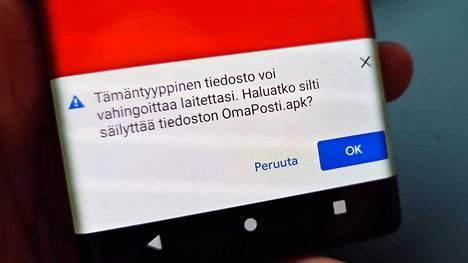 Tältä näyttää, kun Android-puhelimeen yritetään asentaa haittaohjelmaa.
