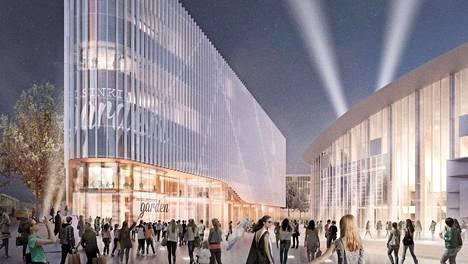 Helsinki Garden -kompleksi on suunnitteilla Helsingin nykyisen jäähallin viereen Nordenskiöldinkadun varteen. Tältä suunnitteilla oleva rakennus näyttää vuoden 2020 havainnekuvissa.