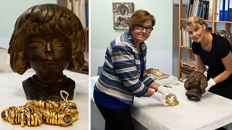 Kultakätkö löytyi Tatjana ja Pentti Wähäjärven kokoelmaan kuuluvan Carl Wilhelmsin vuonna 1946 veistämän Torpan tyttö -nimisen pronssiveistoksen sisältä.