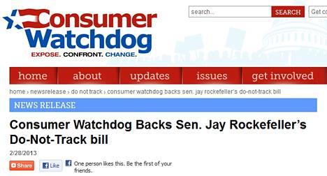 Consumer Watchdog -järjestö tukee lakiehdotusta netin seurantakiellosta.